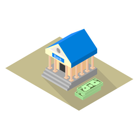 hypothec: Isometric icon of the bank with two packs of dollars. Vector illustration Illustration