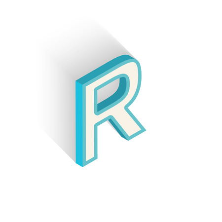Blue icon isometric letter R with a shadow on a white background. Vector Illustration Vector