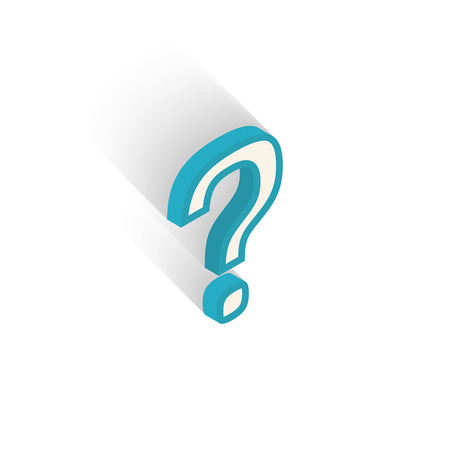 intonation: Blue isometric icon question mark with a shadow on a white background. Vector Illustration Illustration