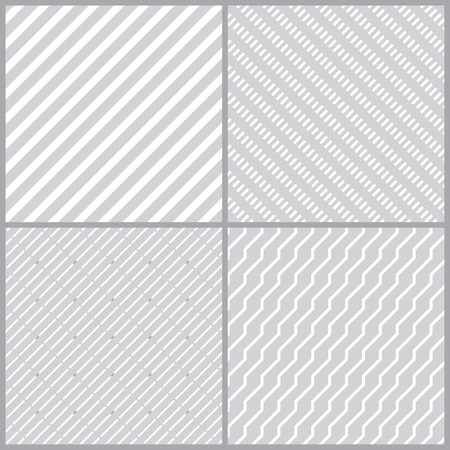 diagonal lines: Set of simple geometric seamless patterns with diagonal lines. Curved lines. The dotted line. Vector illustration