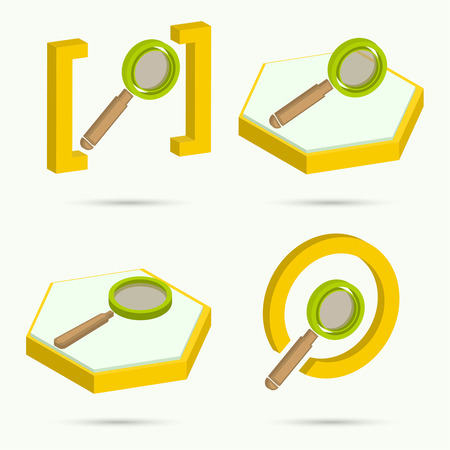 Isometric icons Collection of four icons search. Vector