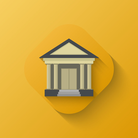 prison house: Court house icon. Yellow. Flat. Shadow. Vector illustration for your design