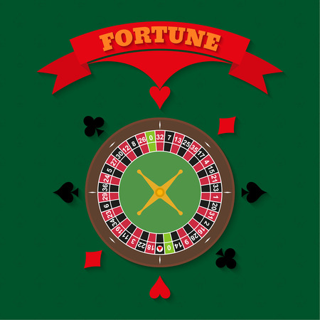 illegally: Casino set on a green background. Roulette and cards colors