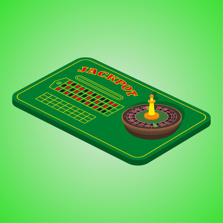 illegally: Casino set on a green background. Game table with a roulette Illustration