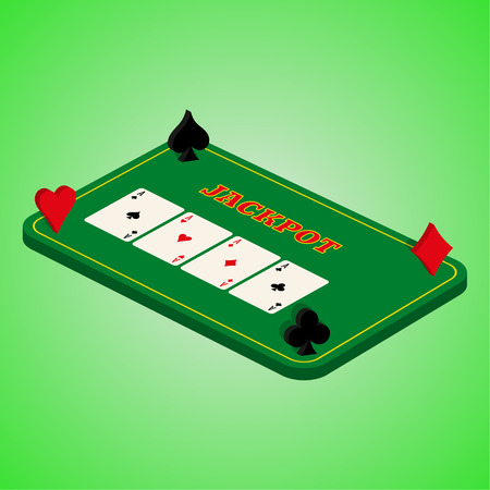 sick kind: Casino set on a green background. Game table with a combination of cards Illustration