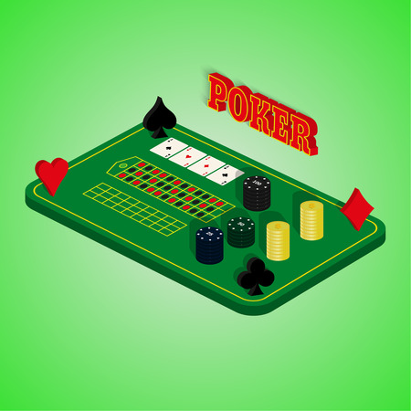 illegally: Casino set on a green background. Game table with a combination of cards, chips, money