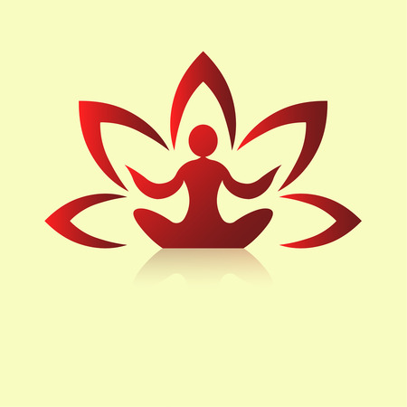 Yoga icon template on a light background