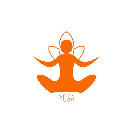 Yoga plantilla icono sobre un fondo blanco Foto de archivo - 39453972