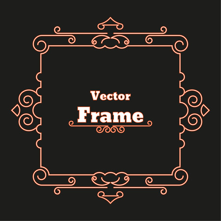 ornate border: Elegant frame with place for text. Monogram. Certificate. Simple creative frame. Vector element of graphic design for your project