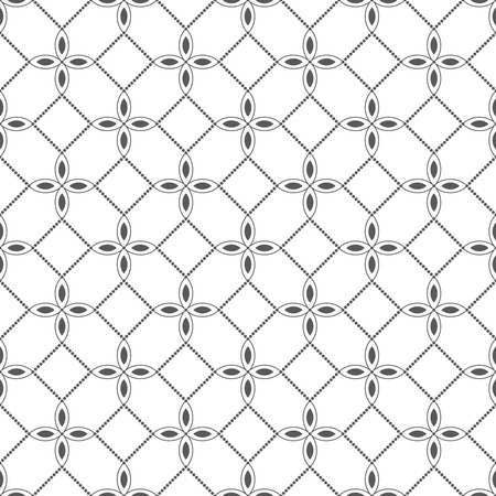 dotted line: Seamless pattern. Classical geometrical texture with flowers and dotted line. Monochrome. Repeating geometrical shapes. Ovals, ellipses, dots. Backdrop. Web. Vector illustration for your design Illustration