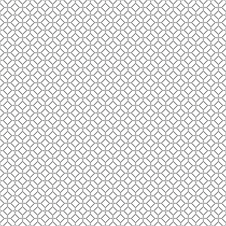 Seamless pattern. Classical geometrical texture with small dots. Repeating rhombuses, squares, dots. Monochrome. Backdrop. Web. Vector element of graphic design for your project