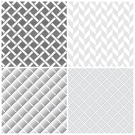 parallelogram: Seamless pattern. Collection of four simple pixel textures with small squares. Repeating geometric shapes, rhombuses, squares, rectangles. Monochrome. Backdrop. Web. Vector element of graphic design Illustration