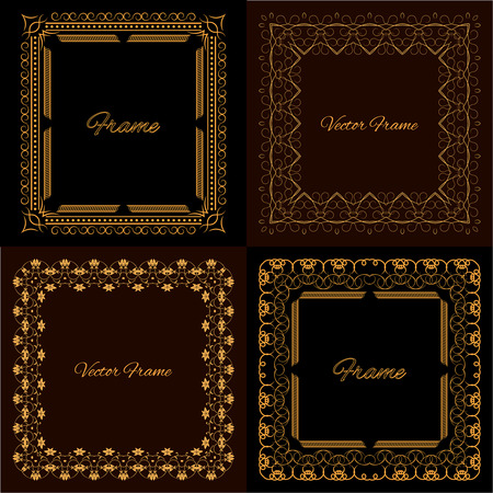 charter: Collection of four stylish elegant frame with place for text. Monogram. Set. Simple creative frame. Vector illustration for your design