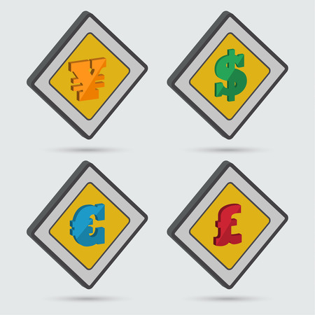 ollection: Сollection of four isometric signs of world currencies. Isometric icons. Vector element of graphic design