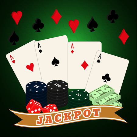 sick kind: Casino set on a on a green wavy background. Four aces, counters, bones, colors, dollars. Vector illustration for your design. Poster, advertising, sign board. Isometric. Poker