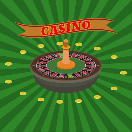 illegally: Casino set. Roulette and dollar coins on a radiant background. Vector element of graphic design. Poster, advertising, sign board