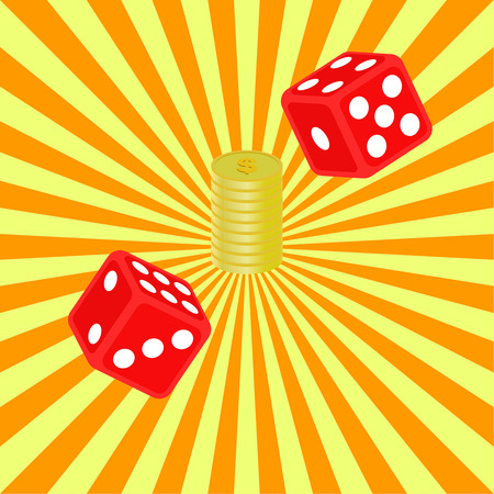 illegally: Dice and coins on a radiant background. Casino set. Vector element of graphic design. Poster, advertising, sign board. Isometric