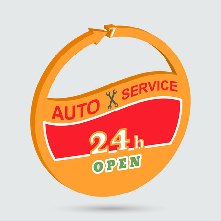 Auto service isometric icon. Station of maintenance emblem. Round the clock car repairs. Design can be used as a poster, advertising, singboard. Vector element of graphic design