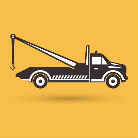 Tow truck emblem. Wrecker icon. Round the clock evacuation of cars. Design can be used as a poster, advertising, singboard. Vector element of graphic design Illustration