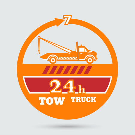 Tow truck emblem. Wrecker icon. Round the clock evacuation of cars. Design can be used as a poster, advertising, singboard. Vector element of graphic design Vettoriali