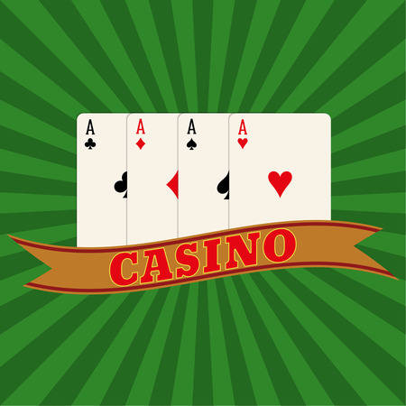 illegally: Four aces on a radiant background. Vector element of graphic design. Poster, advertising, sign board Illustration