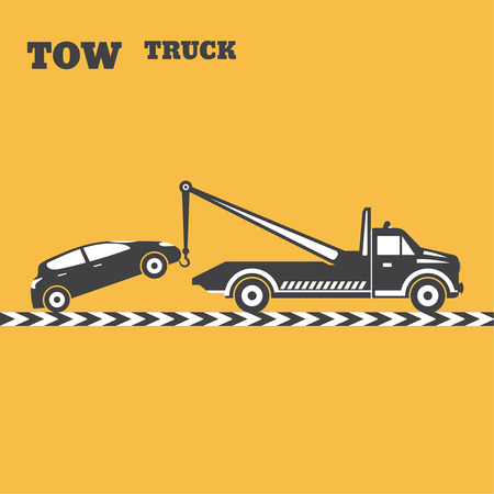 Tow truck emblem. Wrecker icon. Round the clock evacuation of cars. Design can be used as a poster, advertising, singboard. Vector element of graphic design Ilustração