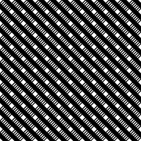 regularly: Seamless pattern. Classic black and white texture. Pattern with regularly repeating geometrical shapes, dashed lines, squares. Backdrop. Web. Vector element of graphic design Illustration