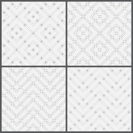 arcs: Seamless pattern. Collection of four simple classic textures. Regularly repeating geometric shapes, rhombuses, dashed lines, arcs, circles, zigzags, waves. Monochrome. Backdrop. Web. Vector element of graphic design