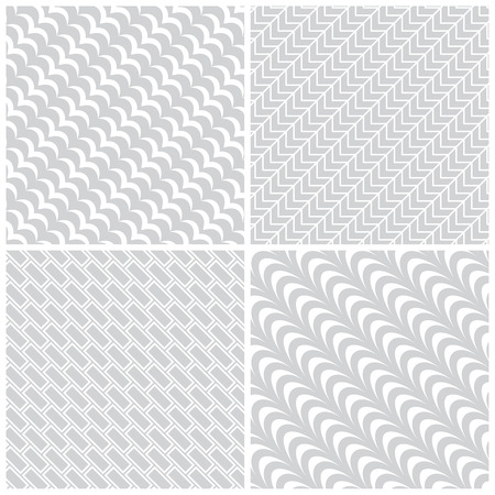 arcs: Seamless pattern. Collection of four simple classic textures. Regularly repeating geometric shapes, oval elements, lines, rectangles, arcs. Monochrome. Backdrop. Web. Vector element of graphic design Illustration