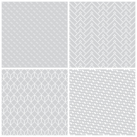 regularly: Seamless pattern. Collection of four simple classic textures. Regularly repeating geometric shapes, corners, dots, hexagons, zigzags. Monochrome. Backdrop. Web. Vector element of graphic design