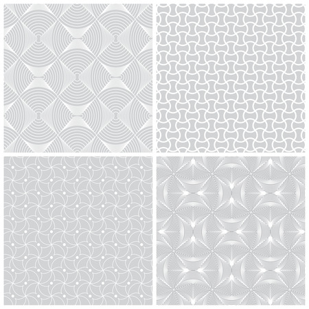 regularly: Seamless pattern. Collection of four stylish textures. Regularly repeating geometric shapes, dots, arches, waves, oval elements, semicircles.  Monochrome. Backdrop. Web. Vector element of graphic design Illustration