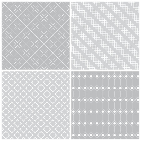 regularly: Seamless pattern. Collection of four stylish textures. Regularly repeating geometric shapes, dots, lines, rhombuses, diamonds.  Monochrome. Backdrop. Web. Vector element of graphic design Illustration