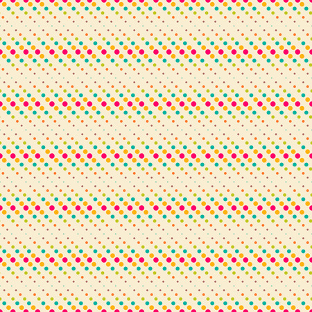 Seamless pattern. Trendy color texture. Bright colourful pattern with regularly repeating geometrical elements, shapes, dots, diagonal dotted lines. Backdrop. Web. Vector element of graphic design Illustration