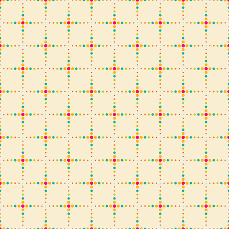 regularly: Seamless pattern. Trendy color texture. Bright colourful pattern with regularly repeating geometrical elements, shapes, dots, crossed dotted lines. Backdrop. Web. Vector element of graphic design Illustration