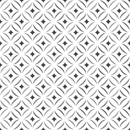 Seamless pattern. Stylish texture. Tile with regularly repeating geometrical elements, shapes, rhombuses, arches, crossed circles. Monochrome. Backdrop. Web. Vector element of graphic design