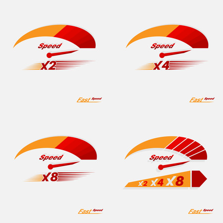 speed: Set of four speedometer scale. Concept of speed and acceleration. Illustration