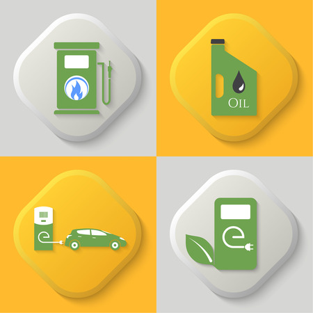 combustible: Set of four icons. Auto gas station, oil can, auto charging station and combustible substances.