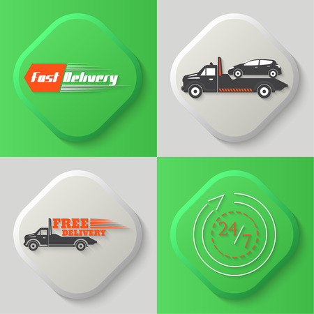 the wrecker: Set of four icons. Fast delivery, wrecker, tow truck, free delivery