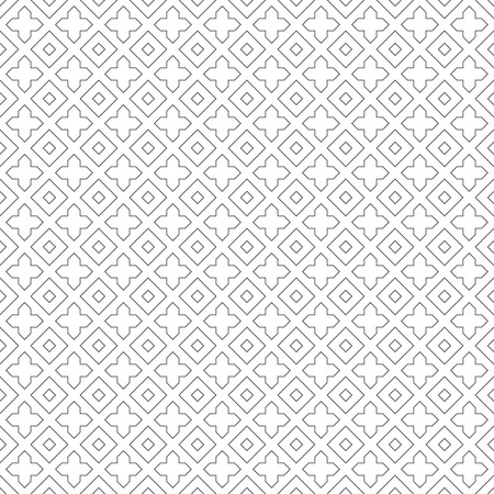 regularly: Seamless pattern. Classical minimal texture. Regularly repeating geometrical elements, shapes, rhombuses, crosses.