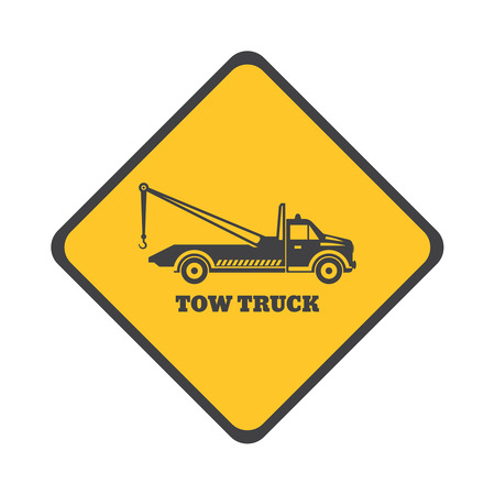 evacuate: Tow truck icon on a white background. Round the clock evacuation of cars. Design can be used as a logo, a poster, advertising, singboard. Vector element of graphic design Illustration