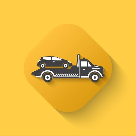 Remolcar icono de camión. Señal de auxilio. Ronda de la evacuación de reloj de coches. El diseño puede ser utilizado como un cartel, publicidad, singboard. Diseño plano Foto de archivo - 42914420