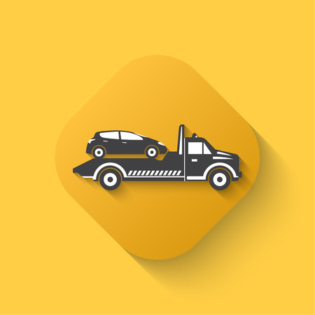 wrecker: Tow truck icon. Wrecker sign. Round the clock evacuation of cars. Design can be used as a poster, advertising, singboard. Flat design