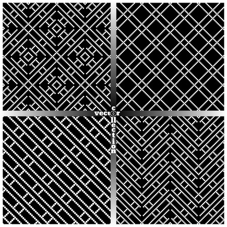 regularly: Seamless pattern. Set of four simple pixel textures. Regularly repeating geometrical elements, shapes, dots, dotted lines, zigzags, rhombuses. Backdrop. Web. Vector element of graphic design