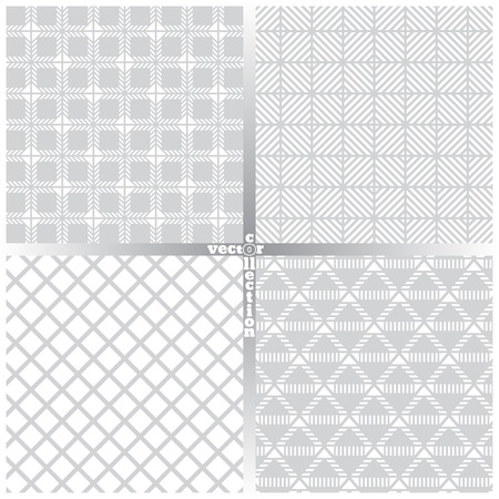 regularly: Seamless pattern. Set of four simple classical textures. Regularly repeating geometrical elements, shapes, strips, rhombuses, lines, squares. Backdrop. Web. Vector element of graphic design
