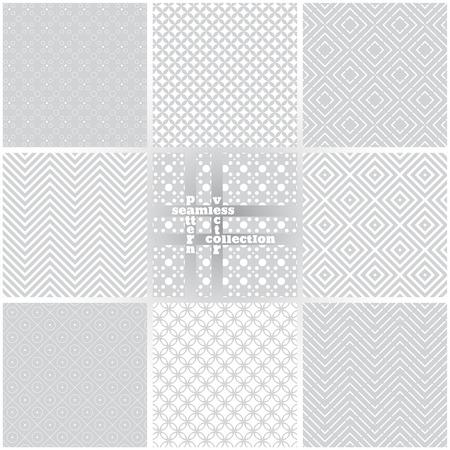 Patrón transparente. Conjunto de ocho texturas clásicas simples. Repitiendo regularmente geométricas elementos, formas, líneas, rombos, círculos, puntos, ondas, zigzags. Telón de fondo. Web. Elemento del vector de diseño gráfico Foto de archivo - 42914432