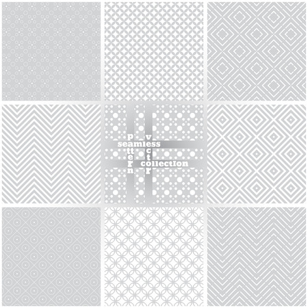 Seamless pattern. Set of eight simple classical textures. Regularly repeating geometrical elements, shapes, lines, rhombuses, circles, dots, waves, zigzags. Backdrop. Web. Vector element of graphic design Ilustração