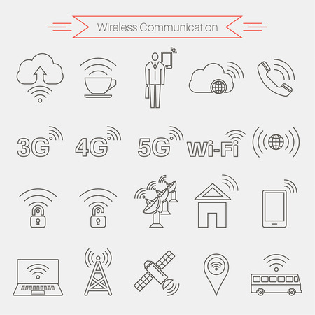 Set of icons of wireless communications. Home and mobile networks. Cloudy storage. Internet cafe. Satellite communication. Thin line style. Vector element of graphic design