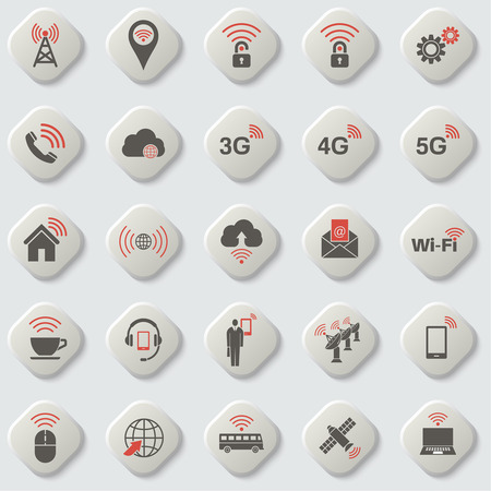 wireless connection: Set of universal icons for web and mobile. Wireless communication. Cloud storage. Network. Setting, home, media. Wi-Fi connection. Cloud service. Button. Vector element of graphic design