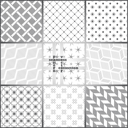 graphic backgrounds: Seamless pattern. Set of nine stylish abstract textured backgrounds. Modern original textures with regularly repeating geometrical shapes. Vector element of graphic design