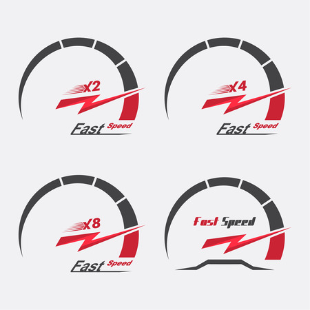 네 속도계 스케일의 집합입니다. 속도와 가속도의 개념입니다. 그래픽 디자인의 벡터 요소